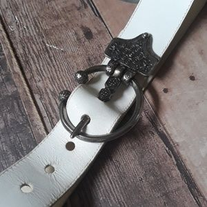 70s vintage Renaissance Boho leather belt Small